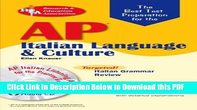 [Read] AP Italian Language and Culture w/ Audio CDs (Advanced Placement (AP) Test Preparation)