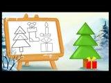 Apprendre à dessiner sur le thème de Noël - Le sapin, les cadeaux, les chaussettes de Noël