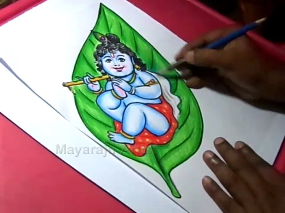 How To Draw Leaf Little Krishna Drawing For Kids Step By Step Video Dailymotion