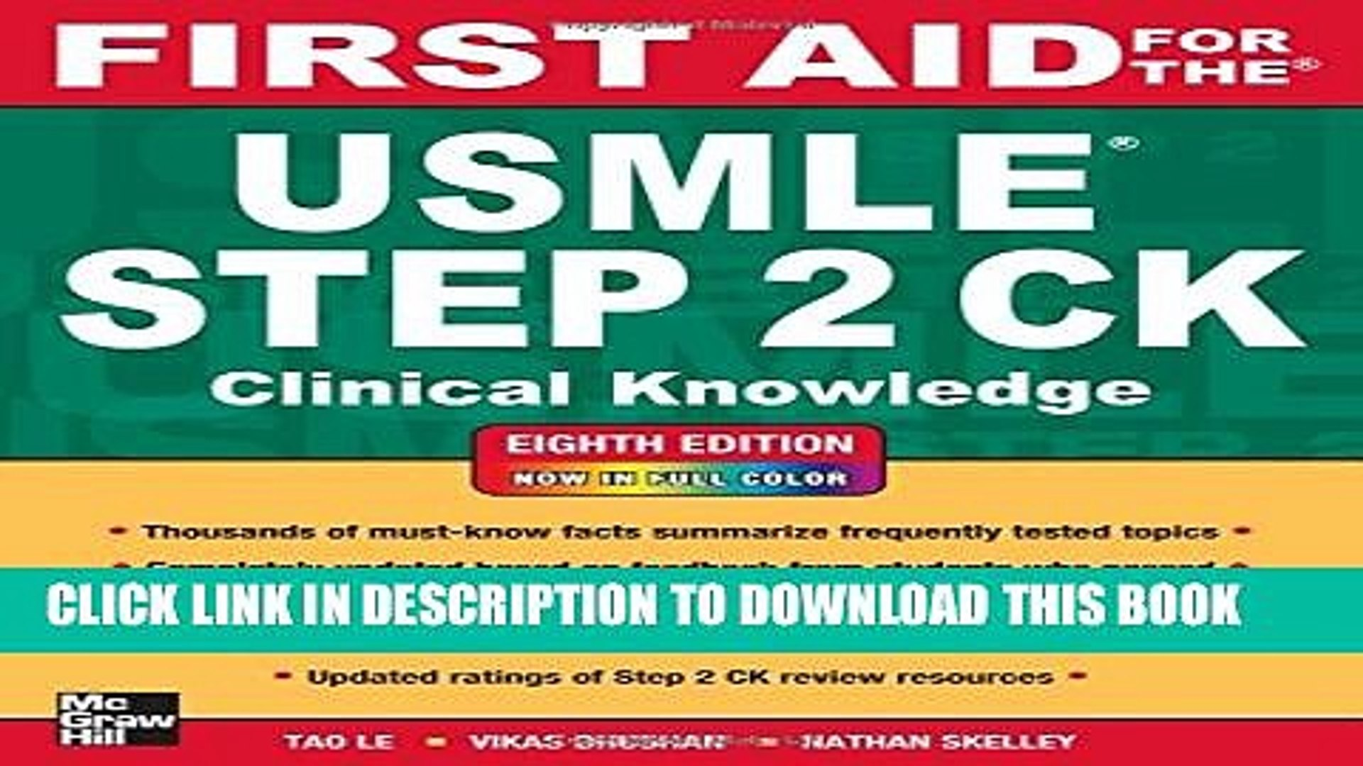 New Book First Aid for the USMLE Step 2 CK, Eighth Edition (First Aid for  the USMLE Step 2:
