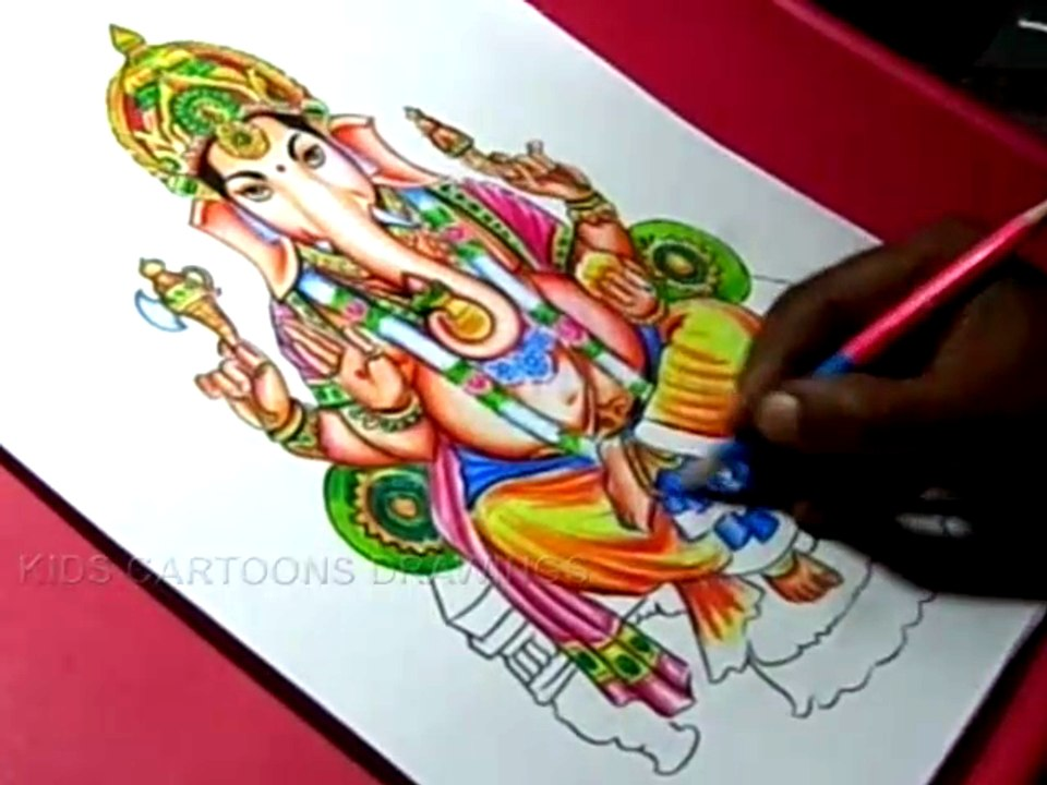 How To Draw Hindu God Lord Ganesha Drawing Step By Step For Kids