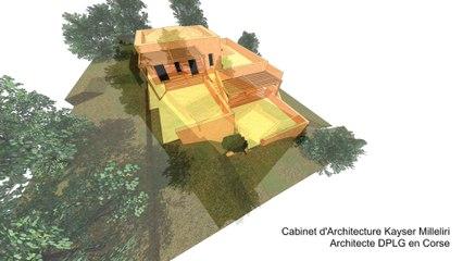 Villa contemporaine d'Architecte en béton terre crue comprimé ( pisé de tuf ) en Corse