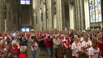 Köln Fans Sing Anthem in Cologne Cathedral