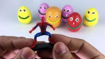 Play Creative & Learn Colours with Play Dough Smiley Face Fun Surprise Toys Spiderman, DORAMON & Molds Fun