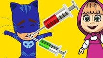 Masha And The Bear with PJ Masks Catboy Gekko Owlette Crying in Doctor - Masha And The Bea