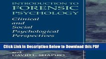 [Read] Introduction to Forensic Psychology: Clinical and Social Psychological Perspectives Popular