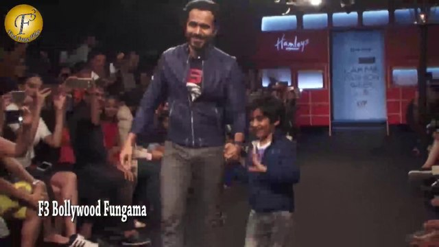 EMRAN HASHMI & HIS SON ON RAMP FOR HAMLEYS SHOW STYLED BY DIESEL LFW DAY 5