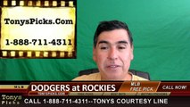 Colorado Rockies vs. LA Dodgers Free Pick Prediction MLB Baseball Odds Series Preview