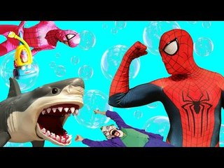 Spiderman Vs Joker Vs SHARK w Frozen Elsa Spidergirl Batman Superman Superhero Fun Compilation IRL
