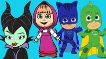 Masha And The Bear with PJ Masks Catboy Gekko Owlette against Maleficent parody - Masha An