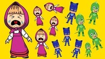 Masha And The Bear with PJ Masks Catboy Gekko Owlette Crying parody When get small