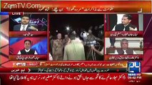 Anchorperson Ali Haider plays an old clip of Nawaz Sharif about MQM and Altaf Hussain and makes Mian Javed Latif speechl