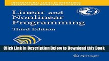 [Best] Linear and Nonlinear Programming Online Books