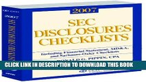 [PDF] SEC Disclosures Checklists (2007) Popular Colection