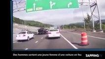 Etats-Unis : Des hommes sortent une jeune femme d'une voiture en feu