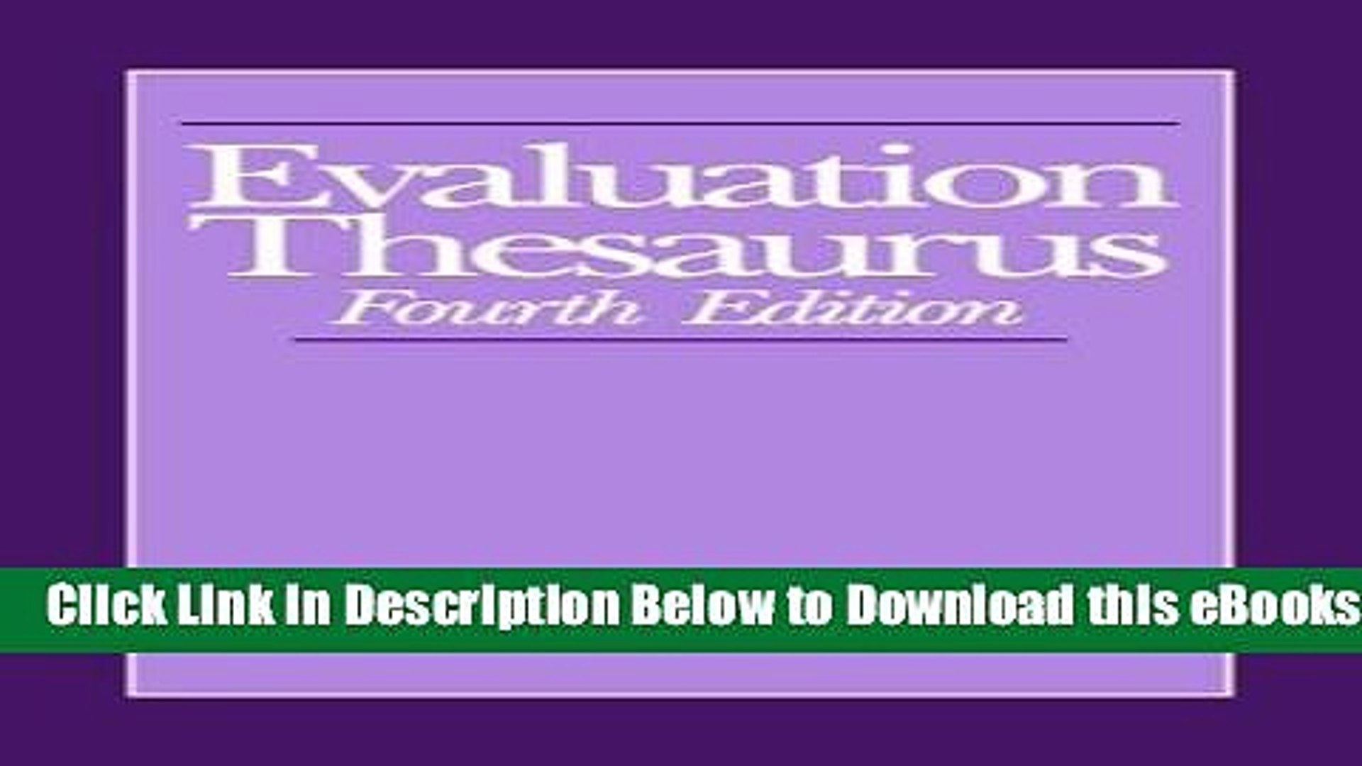 [Reads] Evaluation Thesaurus Online Books