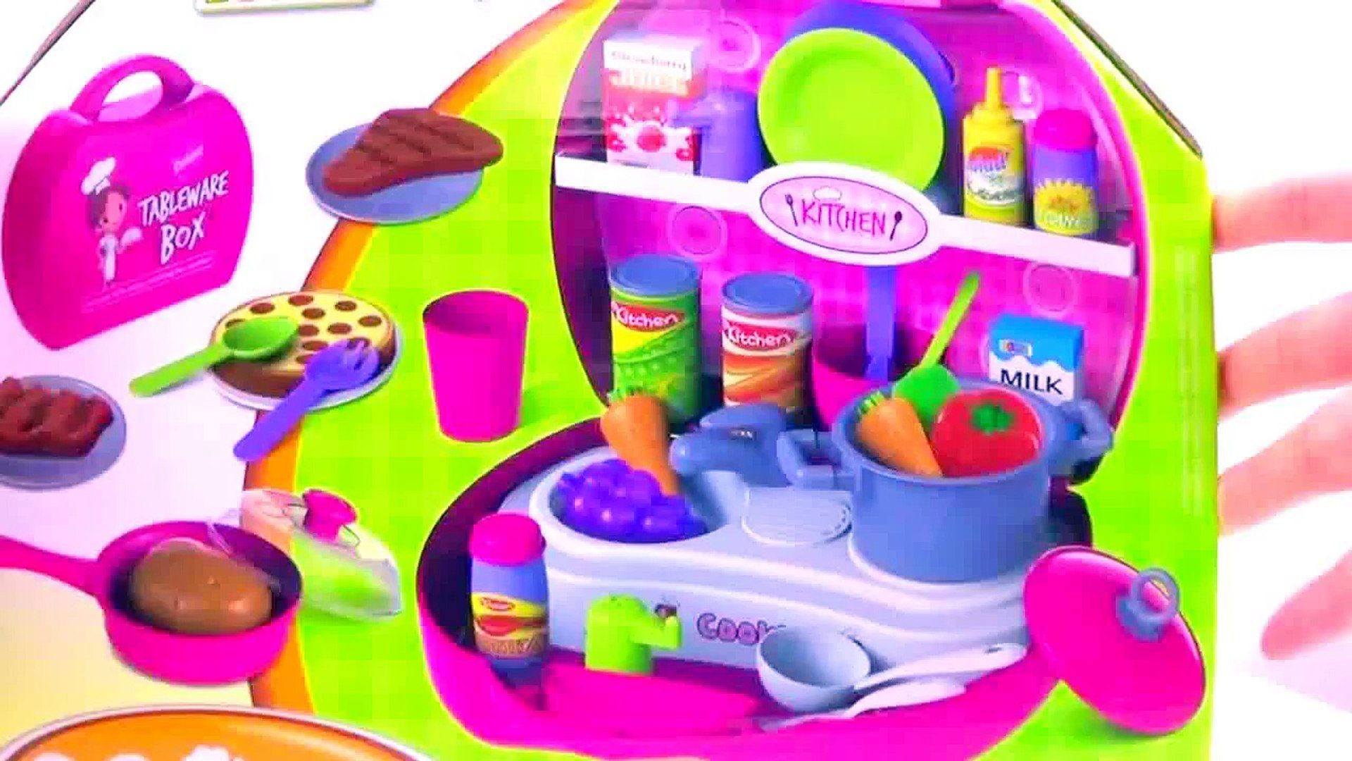 Play Kitchen & Play Doh food * Kids pretend cooking