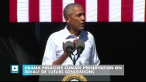 Obama preaches climate preservation on behalf of future generations
