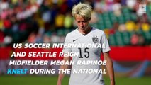 Soccer player Megan Rapinoe kneels as 'nod to Kaepernick'