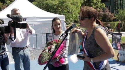 Sarah Ourahmoune accueillie en triomphe à Aubervilliers