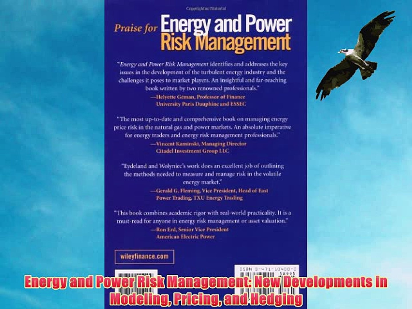 PDF] Energy and Power Risk Management: New Developments in