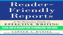 [PDF] Reader-Friendly Reports: A No-nonsense Guide to Effective Writing for MBAs, Consultants, and