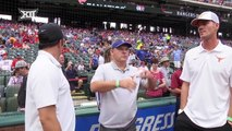 UT Baseball Coach David Pierce throws out First Pitch at Rangers Game