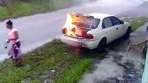 Esto fue lo que pasó cuando una mujer intentó incendiar el carro de su ex