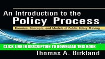 [PDF] An Introduction to the Policy Process: Theories, Concepts, and Models of Public Policy