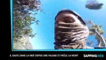 Il saute dans la mer depuis une grande falaise et frôle la mort (vidéo)