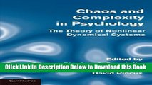 [Reads] Chaos and Complexity in Psychology: The Theory of Nonlinear Dynamical Systems Free Books
