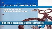 Read Saxon Math Intermediate 3: Student Adaptation Workbook Adaptation  Ebook Free