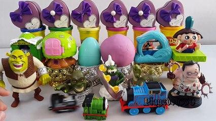 SURPRISE EGGS with Surprise Toys,PLAY DOH,Thomas and Friends,Disney,  Shrek-Dota 2