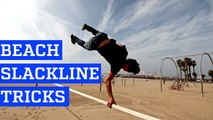Slackline Tricks and Backflips at Muscle Beach in 4K | PEOPLE ARE AWESOME 2016