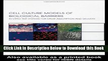 [Download] Cell Culture Models of Biological Barriers: In vitro Test Systems for Drug Absorption