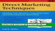 Read Direct Marketing Techniques: Building Your Business Using Direct Mail and Direct Response