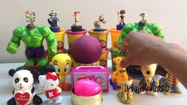 PLAY DOH SURPRISE EGGS with Surprise Toys,Shopkins,Hulk,The Lion King,Play Doh -Toys, Surprise Eggs Video
