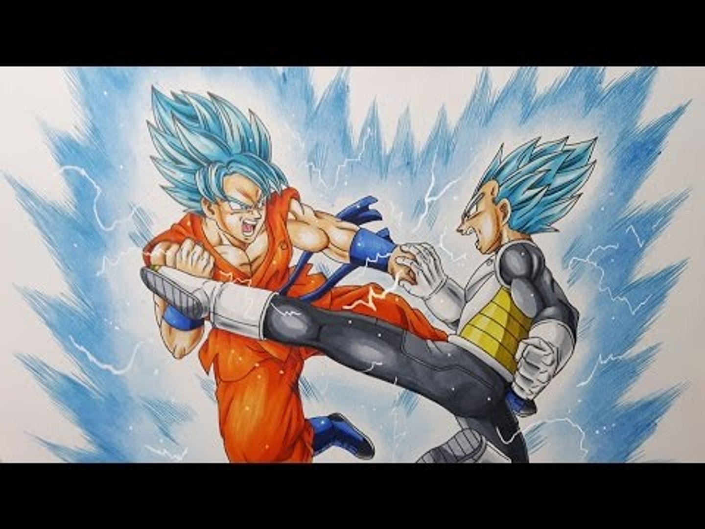 Dessiner Goku Vs Vegeta Super Saiyans Blue