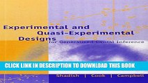 New Book Experimental and Quasi-Experimental Designs for Generalized Causal Inference