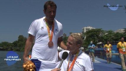 Perle Bouge et Stéphane Tardieu - Médaille de Bronze aviron double mixe - Jeux Paralympiques Rio 2016