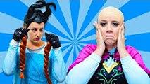 Frozen Anna Loses Her Hair! w- Elsa, Spiderman vs Maleficent & Joker Superheroes Movie In Real Life