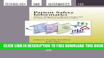 New Book Patient Safety Informatics: Adverse Drug Events, Human Factors and It Tools for Patient