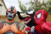 Spiderman vs Venom vs Bane   Bane Becomes a Villain   Real Life Superhero Battle Death Match