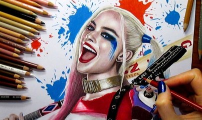 Speed Drawing of Margot Robie as Harley Quinn in Suicide Squad Movie   How to Draw Time Lapse Art Video Colored Pencil Illustration Artwork Draw Realism