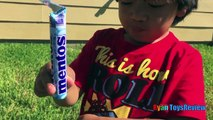 DIET COKE AND MENTOS EXPERIMENT CHALLENGE Easy science experiment for kids Toys Cars Ryan ToysReview