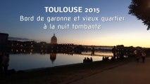 Toulouse 2015. Quai de garonne et vieux quartier à la nuit tombante (Hd 1080p60 )