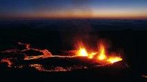 Eruption du Volcan Piton de la Fournaise filmé par un drone