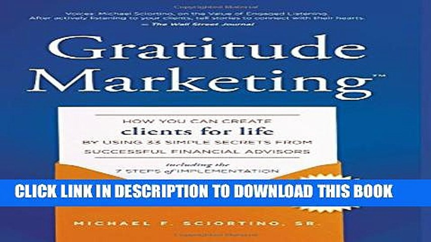 New Book Gratitude Marketing: How You Can Create Clients For Life By Using 33 Simple Secrets From