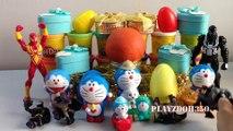 PLAY DOH SURPRISE EGGS with Surprise Toys,playdough videos for children,Spiderman,Marvel, Batman,Doraemon toys
