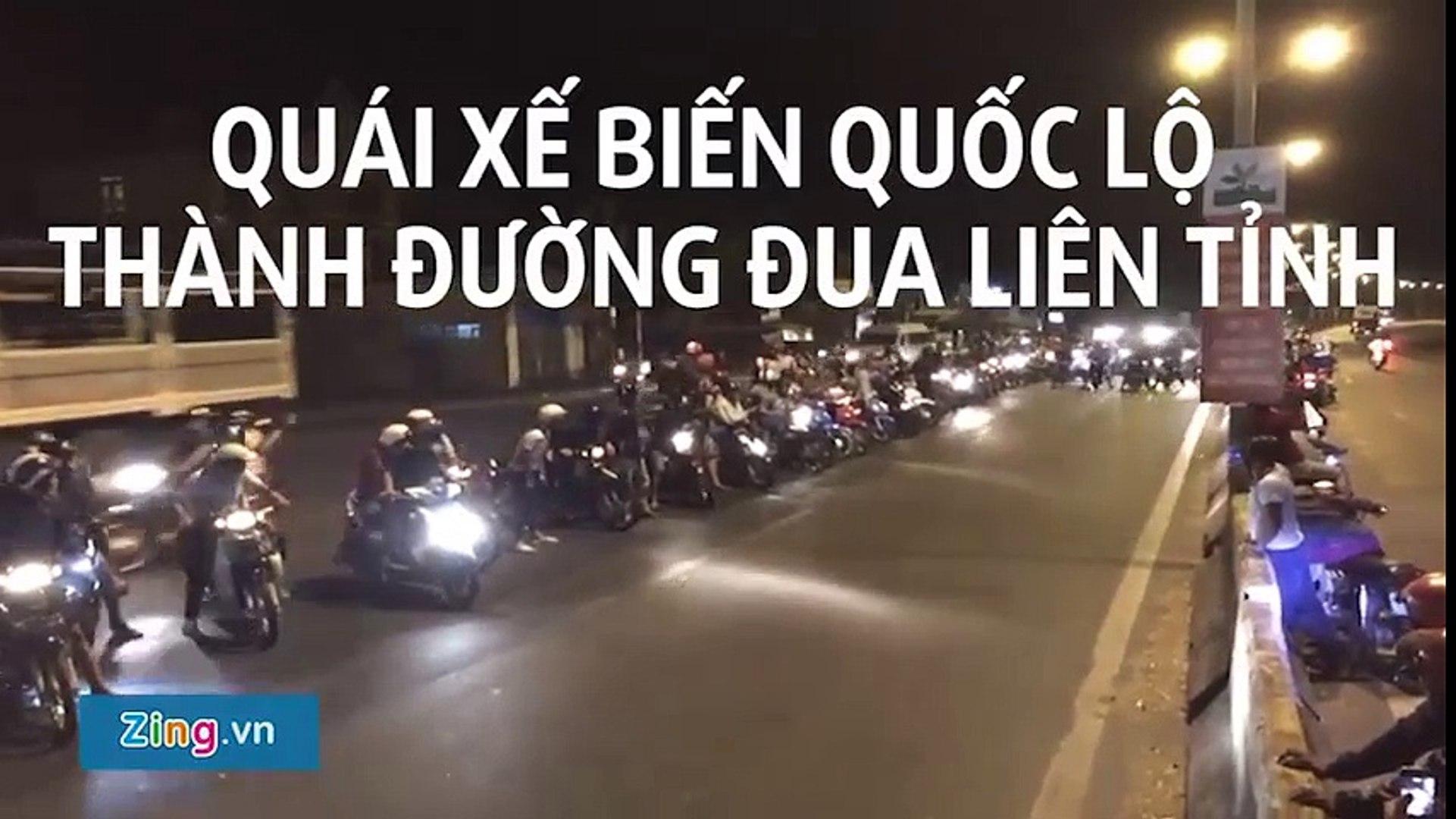 hoảng hồn với clip hàng trăm quái xế đua xe trong đêm ngay trên quốc lộ